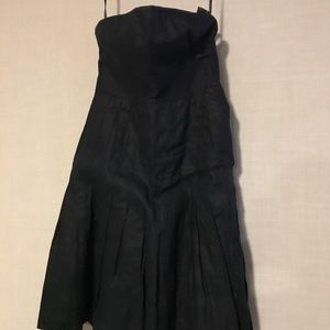 J. Crew strapless navy linen dress size 6